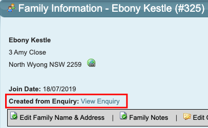 Family Converted from Enquiry