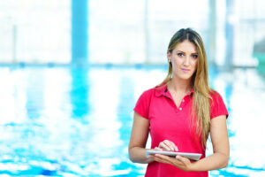 Pool Staff with Tablet Device